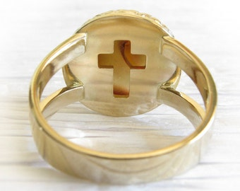 Cremation glass solid 14k gold Miracle ring. Memorial jewelry. Cross or heart cut out on bezel. Urn jewelry.  Ashes of your pet.