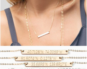 Location Necklace / Coordinates Necklace / Latitude Longitude Necklace / GPS Sterling Silver, 14kt Gold Fill, Rose Coordinates Jewelry
