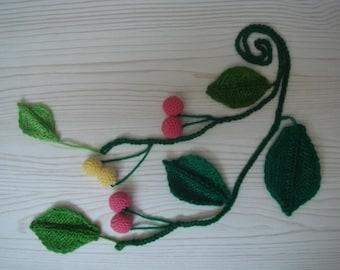 cherry vine,fascinators,knitted plants,crochet necklace,handmade scarf,lariat,boho hippie,red,yellow,green=fruit=MaryDengZF