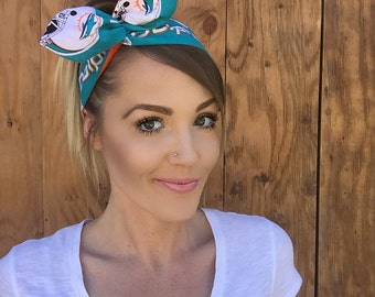 Miami Dolphins Dolly Bow Reversible Headband Football Florida Teal Blue White Orange Black Pinup Rockabilly Tie Up Headscarf Hair Head Wrap