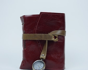 Leather Journal - Handmade paper with maps and Compass