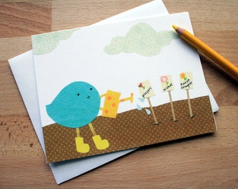 CARD: The Love Gardener, Bird growing sweet thoughts and prayers