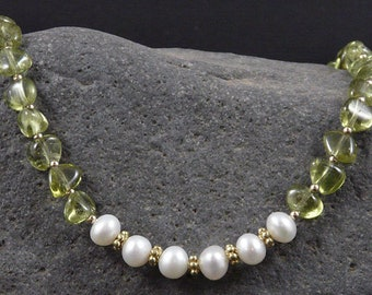 Green Apatite & Pearl Necklace