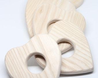 Baby teething wooden heart / Baby teething toy