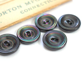 Carnival Glass Black Victorian Buttons x 5