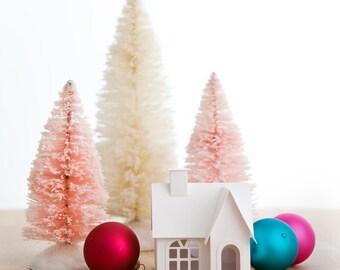 Putz House Ornament DIY Kit Victorian Glitter House Christmas Decoration Paper Craft Kit Christmas Mantle Decor