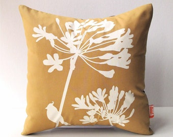 Golden Brown Cardinal on Agapanthus-Mini 10.5 Inches Square Pillow