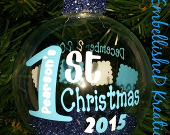 Personalized Baby's First Christmas/2017 Ornament/1st Christmas/2017 Boy 1st Christmas