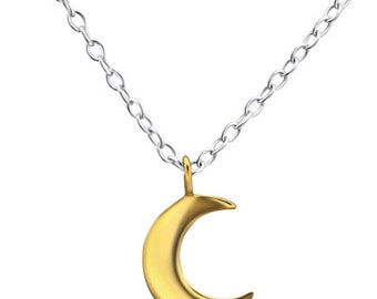 Gold & Sterling Silver Crescent Moon Necklace