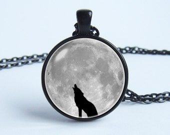 Grey moon necklace Wolf necklace Wolf jewelry Wolf pendant Moon pendant Wild animal Art necklace Moon necklace Full moon Wolf and moon