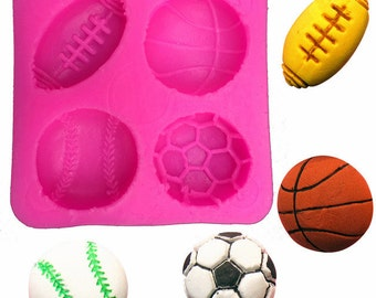 Silicone Mold: Sports, Basketball Mold, Soccer Mold, Football Mold, Baseball Mold, Softball Mold, Cake Mold, Jewelry Mold, Silicone Sports,