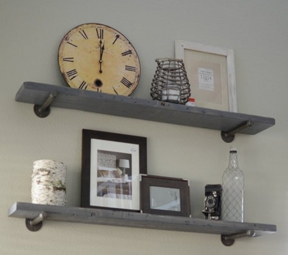 Pipe Shelves Kitchen: Industrial Gray Wash Floating Shelf With Pipe Brackets