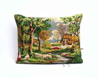 Vintage French Needlepoint Tapestry Pastoral Country Scene Sheep Cottage   Pillow Cushion Coussin