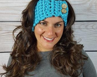 Turquoise Crochet Headband, Crochet Ear Warmer, Winter Headband, Chunky Ear Warmer, Handmade Headband, Button Ear warmer  - Turquoise