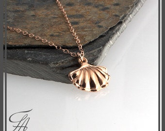 Sea Shell Charm Necklace, Rose Gold Necklace, Charm Necklace, Everyday Jewelry, Layering Necklace, Handmade Necklace, Gift Necklace