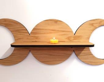 Oak Triple Goddess shelf - Pagan Witch - Sun Moon Goddess -  Wiccan - Spell Shelf -  Triple deity - ingredient shelf