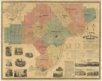 Clark County Indiana  1875 - Old Wall Map Reprint with Landowner Names  Farm Lines Genealogy