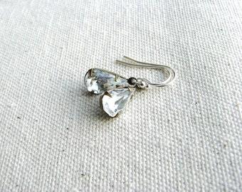 Glass Jewel Earrings Vintage Cut Gems Clear Diamond Tear Drop Estate Style Minimalist Modern Wedding Bridal Gift Jewelry Sparkly