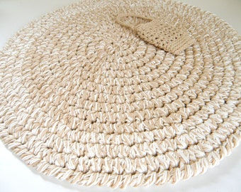 Crocheted Round Bath Rug, Thick Cotton Bath Mat, Tan and Bone Rag Rug Inspired Nursery Room Rug for Boy or Girl Room, Kitchen Rug, Entry Rug