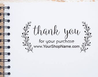 Custom Floral Wreath Thank You Business Stamp, Thank You Stamp with Website or Shop Name, Thank You for Business