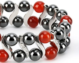 Red Agate Elegant Womens Hematite Magnetic Therapy Healing Stone Bracelet & Ring Set Pain Relief for Arthritis and Carpal Tunnel