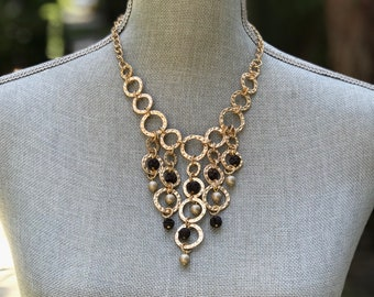 Statement necklace, gold necklace, bib necklace, pearls necklace, handmade necklace, one of a kind necklace, vintage necklace,women necklace