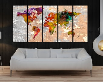 Large canvas art, abstract world Map Canvas wall art canvas, Modern wall decor, world map print, fine art print home decoration 755