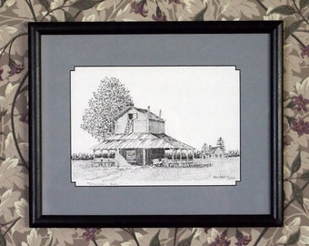 Pen and Ink Tobacco Barn Horry County Little River SC Blue Crab Festival by Ray Govus
