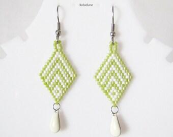 Woven beads Japanese, Khaki, white, brass hook earrings
