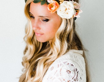 Peach + Berries Neutral Flower Crown