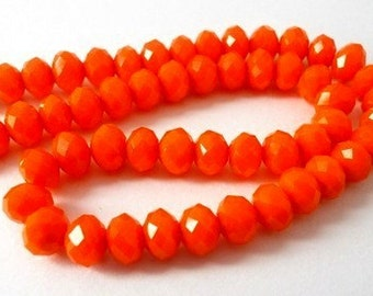 32 TINY orange red beads, 6mm orange rondelles, Chinese crystal