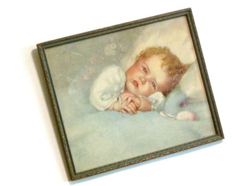 Heaven's Gift Lithograph Annie Benson Muller Pastel Nursery Art Print Original Carved Wood Frame Baby's Room Decor