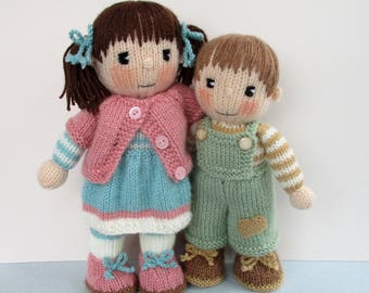 Penny and Patch - doll knitting pattern - girl doll - boy doll - PDF instant download