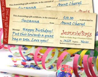 Gift Certificates for Any Occasion | Christmas Birthday Baby & more