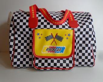 Rare Claires Club Checkered Race Car Tote Bag Colorful Nascar Style Overnight Zipper Pocket Pop Art Aesthetic Kawaii Cute Tween Unisex