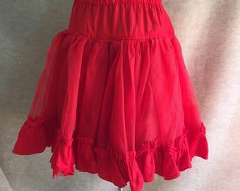 Vintage Red Crinoline, Red Petticoat, Full Circle, Sheer Net, Rockabilly, Pin Up, Medium to Large, Knee Length