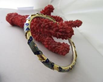Vintage Cloisonne Butterfly Bangle Bracelet