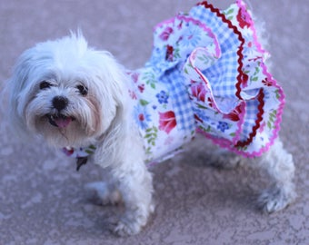 Dog Dress, Dog Harness Dress, Dog Fashion for Small Dog, Summer Dress for Dogs, Ruffle Dress, Handmade, Custom Dog Dress, Floral, red