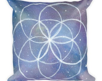 "Cosmic Seed of Life 18""x18"" Square Pillow"
