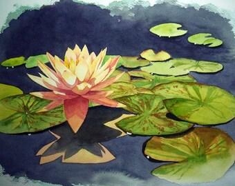 Original Watercolor-Water lily