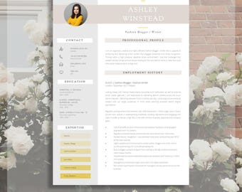 "Resume Template | Creative Resume Template | Two Page Professional Resume + Cover Letter & Advice | Printable Word Resume | The ""Monument"""