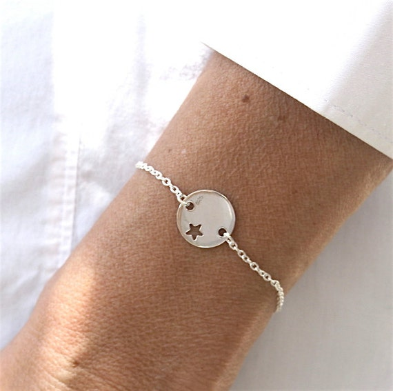 Star bracelet perforated plate on chain Silver 925