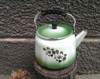Vintage Enamel Kettle, White Large Green Teapot with Flower, Rustic Big Enameled Kettle , 70's Vintage Kitchenware, Retro Kitchen