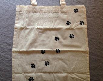 cat print tote bag, natural cream cotton, durable tote bag, printed grocery tote, paw print bag, paw print tote, black paw print market bag