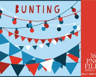 Red White & Blue Bunting and Strings of Lights - INSTANT DOWNLOAD