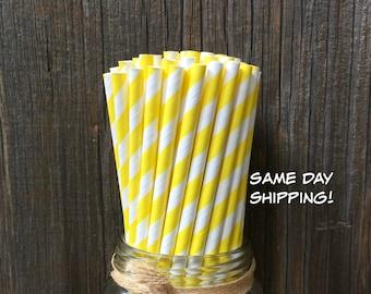 Yellow Paper Straws, 100 Stripe Straws, Birthday Party, Picnic, Carnival, Wedding Supply,  Free Shipping