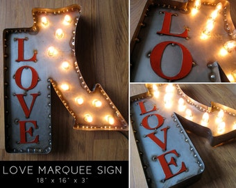 18 Inch Steel Marquee LOVE Sign with Arrow