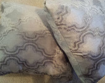 2 Soft Gray handmade  designer Pillow set with pillow insert and cover the whole pillow