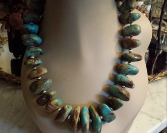 Natural turquoise chunky necklace