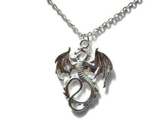 Dragon necklace, dragon earrings, dragon jewelry, fantasy necklace, fantasy earrings, fantasy jewelry, gothic necklace, gothic earrings